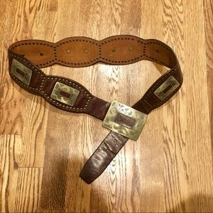 Accessories - Country Western Leather Belt with Brass Detail, 95
